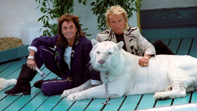 Siegfried (r) and Roy (l) on 14 June 1991 at Phantasialand in Brühl with a white tiger. Pic: AP