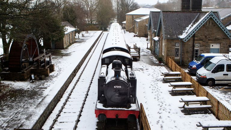A train at the Dales Countryside Museum in Hawes, North Yorkshire