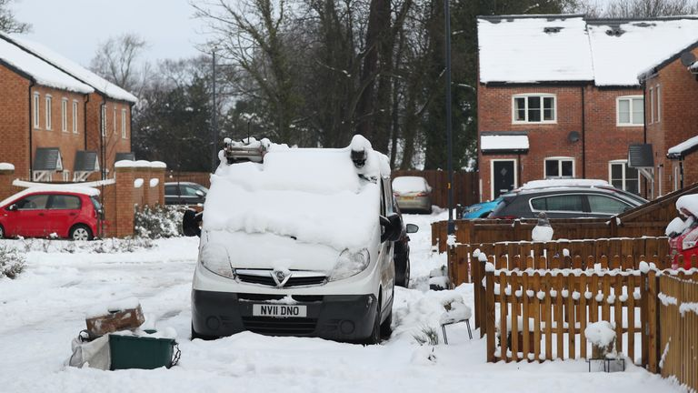 A snow covered street in Catterick, North Yorkshire, on Saturday
