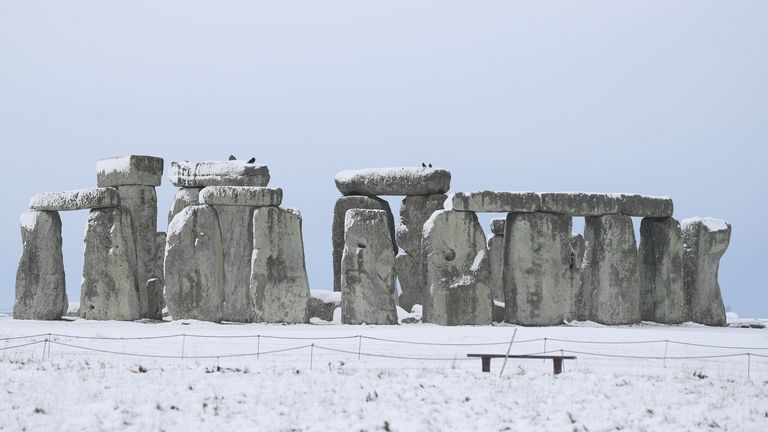 A snowy Stonehenge in Wiltshire