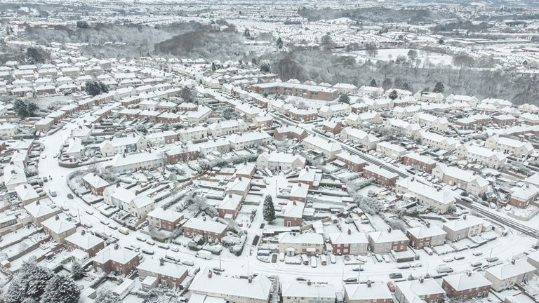 Snow on the roofs of houses in, Bristol