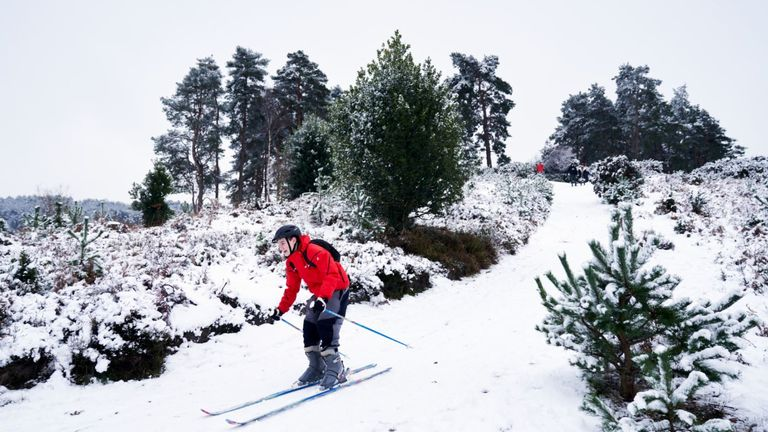 A skier in Barossa nature reserve in Camberley, Surrey