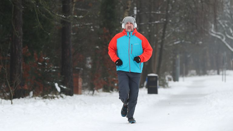 A man jogs in Catterick, North Yorkshire