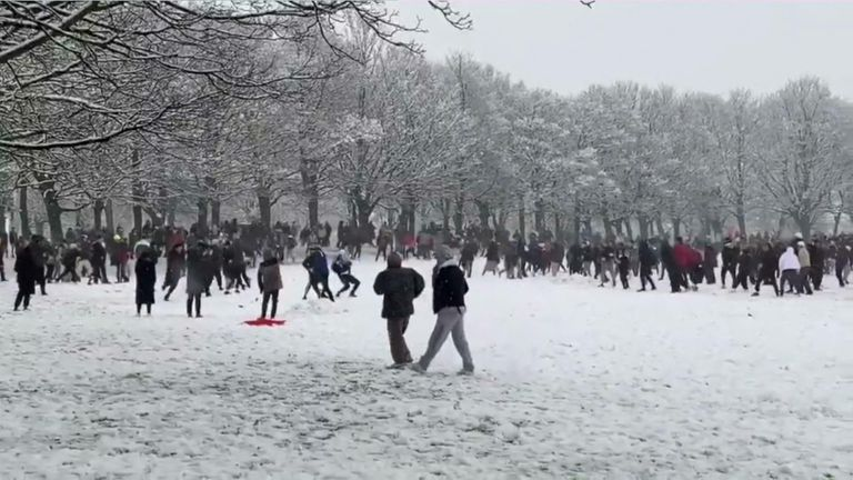 Snowball fight in Leeds
