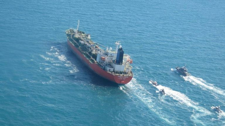 The MT Hankuk Chemi pictured in the Gulf on Monday