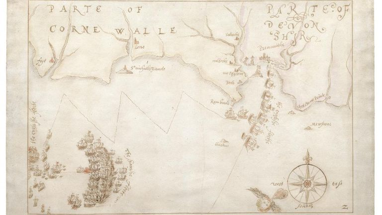 Map of battle against the Spanish Armada - drawn in 1589, and saved from being exported.