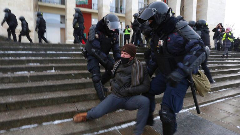 Protests in St Petersburg has been 'more aggressive' than Moscow