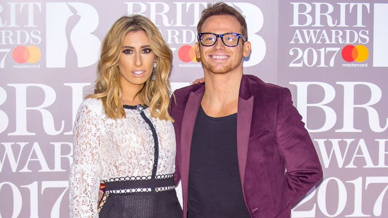Stacey Solomon and Joe Swash attend the BRIT Awards 2017 at the O2 Arena in London, England. Pic: Hubert Boesl/picture-alliance/dpa/AP