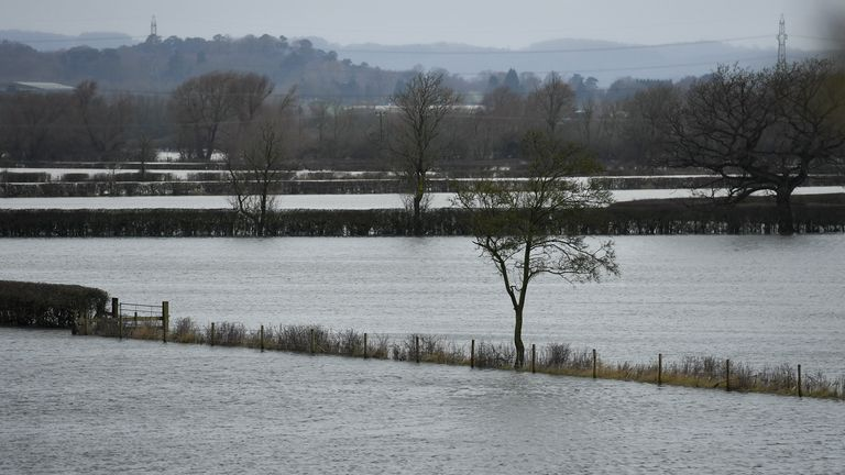 Flooded fields in Mountsorrel in Leicestershire, as Storm Christoph is set to bring widespread flooding, gales and snow to parts of the UK. Heavy rain is expected to hit the UK, with the Met Office warning homes and businesses are likely to be flooded, causing damage to some buildings.