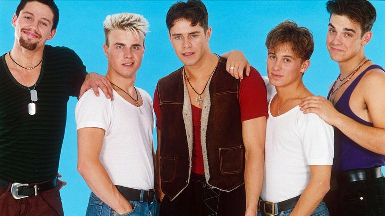 Take That in 1992 (L-R): Jason Orange, Gary Barlow, Howard Donald, Mark Owen and Robbie Williams