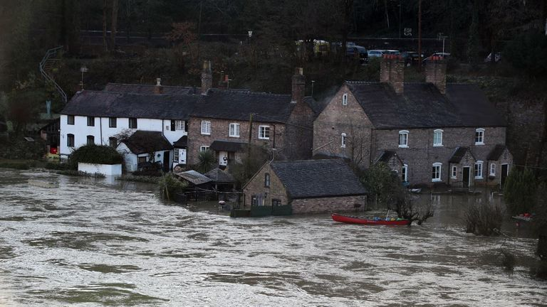 Ironbridge in Telford also saw flooding