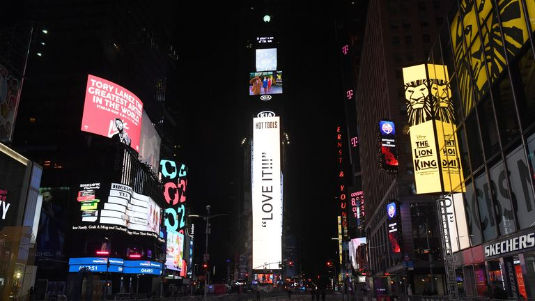 Times Square sits empty ahead of the New Year's Eve 2021 celebration