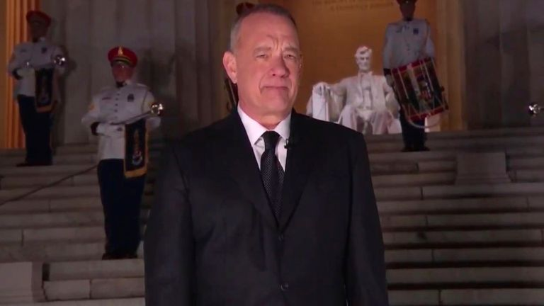 A chilly-looking Tom Hanks hosts the night's celebrity-packed proceedings. Pic: PA
