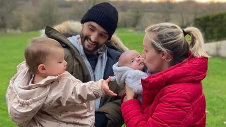 Tom Parker with his wife Kelsey, daughter Aurelia and baby son Bodhi. Pic: Instagram/@TomParkerOfficial