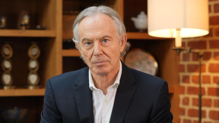 Tony Blair speaking on the Sophy Ridge on Sunday programme