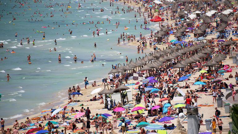 Tourists on a Mallorca beach in 2018
