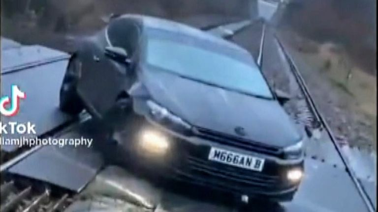 Police are investigating a video posted on TikTok that shows a car photoshoot on a live railway crossing at Bromleys Cross, Bolton
