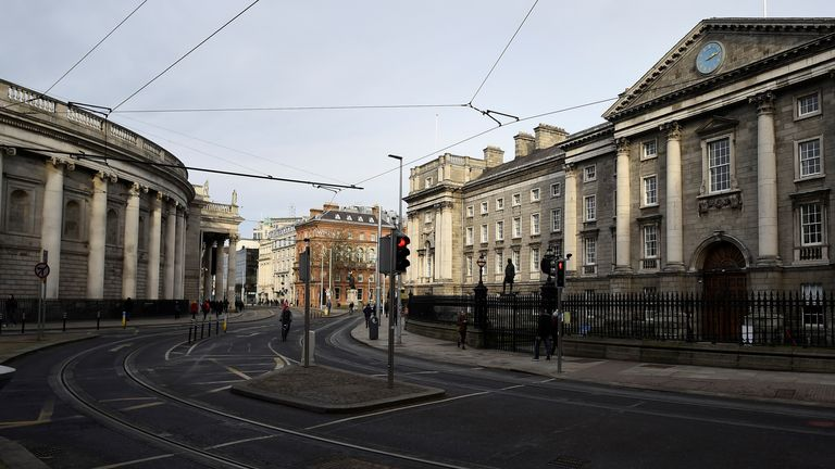 Empty streets outside Trinity College in Dublin