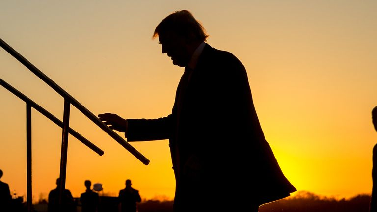 Republican presidential candidate Donald Trump arrive at a rally at Millington Regional Airport in Millington, Tenn., Saturday, Feb. 27, 2016. (AP Photo/Andrew Harnik)