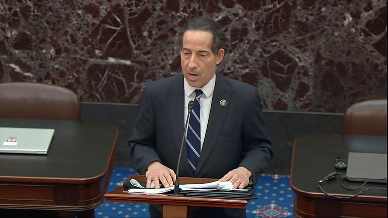 lead impeachment manager Rep. Jamie Raskin, D-Md., reads on the Senate floor the article of impeachment Pic: AP