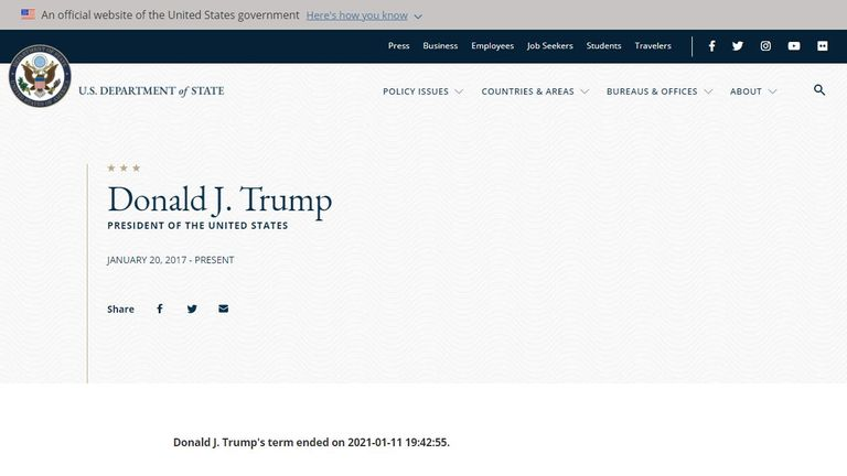 The US State Department website post saying Donald Trump's term as president had 'ended'