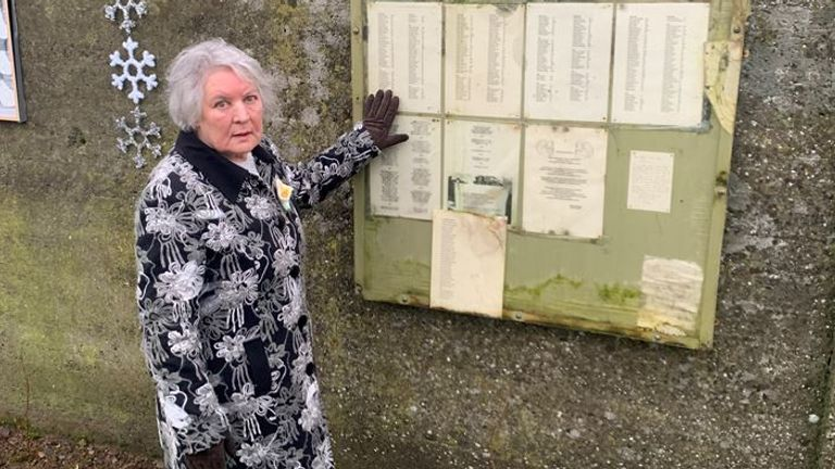 Winnifred Carmel Larkin, pictured beside a list of the names of dead children at the Tuam site