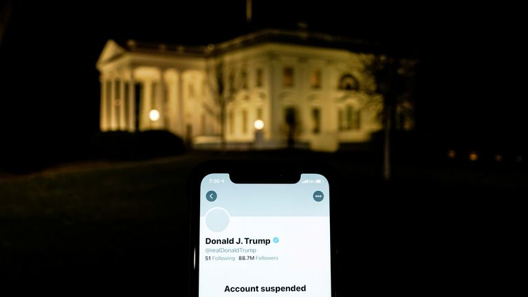 A photo illustration shows the suspended Twitter account of U.S. President Donald Trump on a smartphone and the White House in Washington A photo illustration shows the suspended Twitter account of U.S. President Donald Trump on a smartphone and the White House in Washington, U.S., January 8, 2021. REUTERS/Joshua Roberts/Illustration TPX IMAGES OF THE DAY DOWNLOAD PICTURE Date: 09/01/2021 01:23 Dimensions: 5434 x 3810 Size: 1.9MB Edit Status: update Category: A Topic Codes: POL SCI US VOTE Fixtu