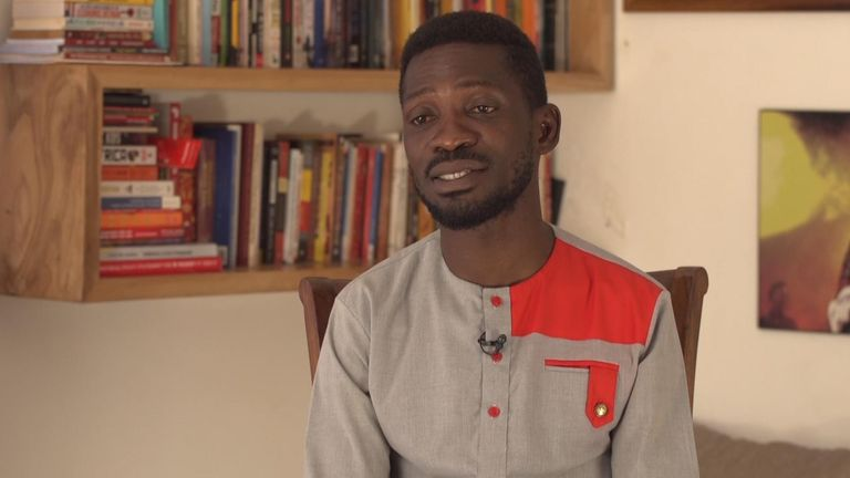 Ugandan presidential candidate Bobi Wine speaks to Sky News