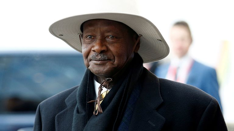 Uganda's President Yoweri Museveni arrives at the UK-Africa Investment Summit in London on 20 January 2020
