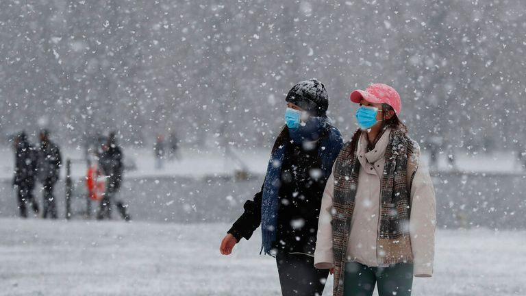 Snow in the UK on Sunday morning. Pic: Associated Press