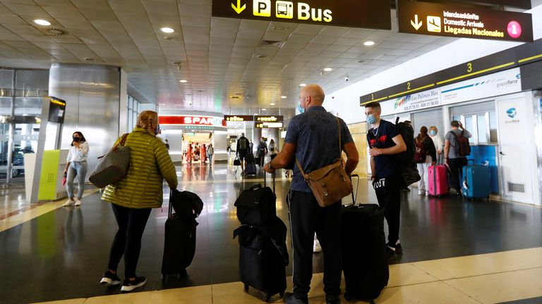 British tourists arrive at Gran Canaria airport
