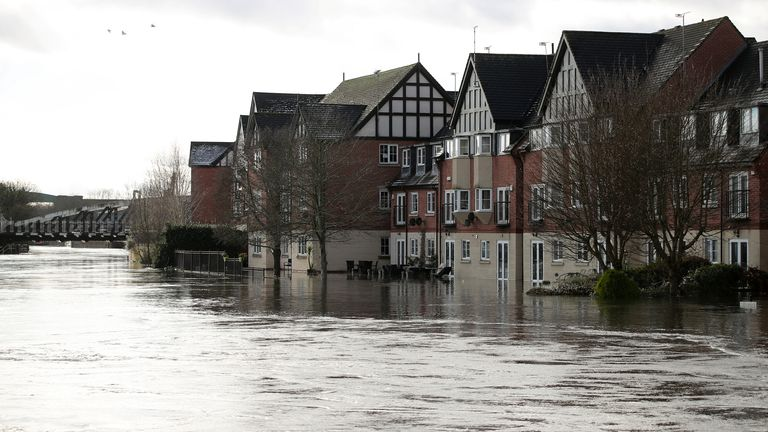A flood is seen after the river Weaver burst banks in Northwich, Britain, January 21, 2021. REUTERS/Molly Darlington