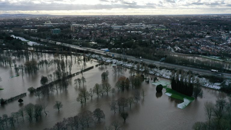 Flood waters at Withington Golf Club in the Didsbury area of Manchester, as Storm Christoph causes widespread flooding across the UK. Picture date: Thursday January 21, 2021.