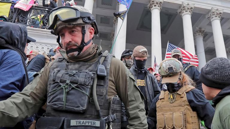 Militiaman Donovan Crowl was pictured at the storming of the US Capitol earlier in January.
