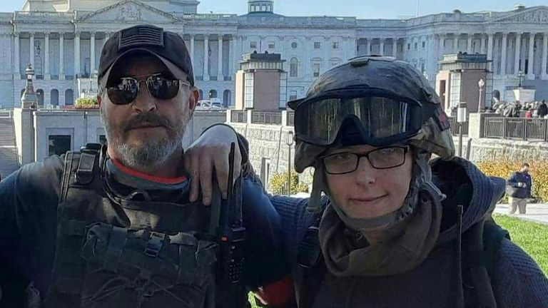 Donovan Crowl and Jessica Watkins, pictured outside the US Capitol building.