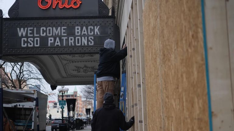Citizens in Ohio have been boarding up their businesses, ahead of potential disruption on inauguration day.