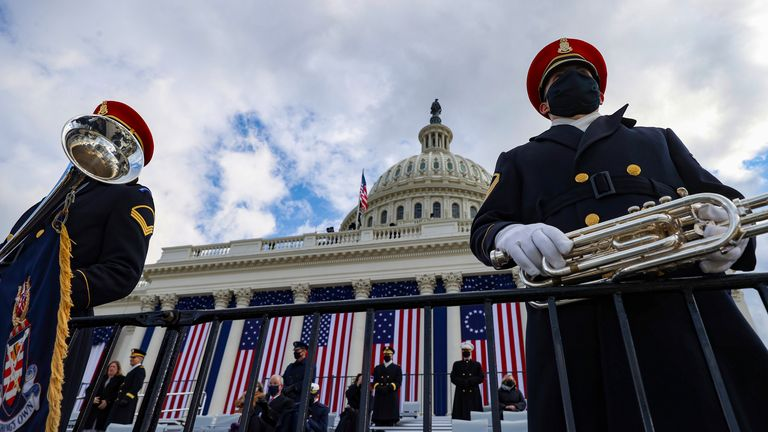 Members of the U.S. Army Band wait before President-elect Joe Biden's inauguration at the U.S. Capitol in Washington, Wednesday, Jan. 20, 2021. (Tasos Katopodis/Pool Photo via AP)