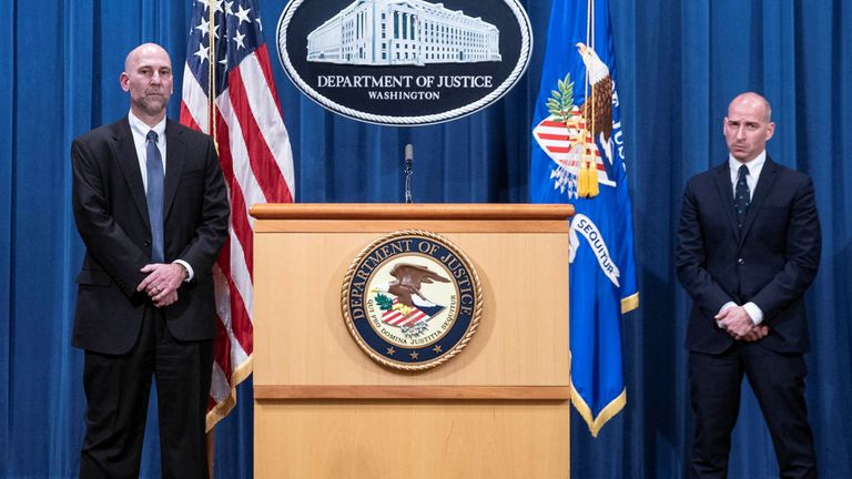 Steven D'Antuono, head of the Federal Bureau of Investigation (FBI) Washington field office, left, and Michael Sherwin, acting U.S. attorney for the District of Columbia, participate in a news conference at the U.S. Department of Justice in Washington, D.C., U.S., January 12, 2021. The acting attorney for Washington and FBI provided an update on criminal charges related to the Jan. 6 siege at the U.S. Capitol. Sarah Silbiger/Pool via REUTERS