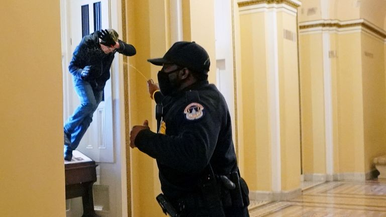 A U.S. Capitol police officer shoots pepper spray at a protestor attempting to enter the Capitol building during a joint session of Congress to certify the 2020 election results on Capitol Hill in Washington, U.S., January 6, 2021. Kevin Dietsch/Pool via REUTERS TPX IMAGES OF THE DAY