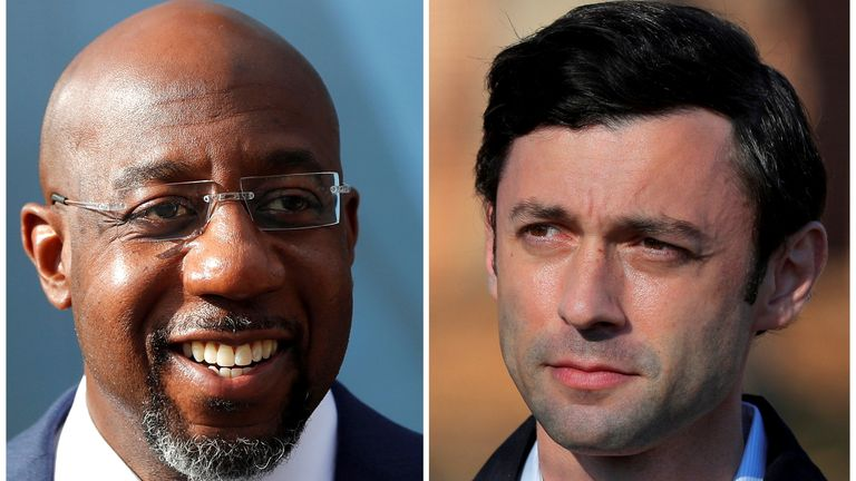 Rev. Raphael Warnock (L) will be joined in the US Senate by Jon Ossof (R)
