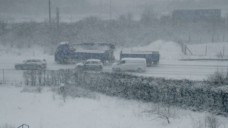 Vehicles in southeast England during the 2018 'Beast from the East'