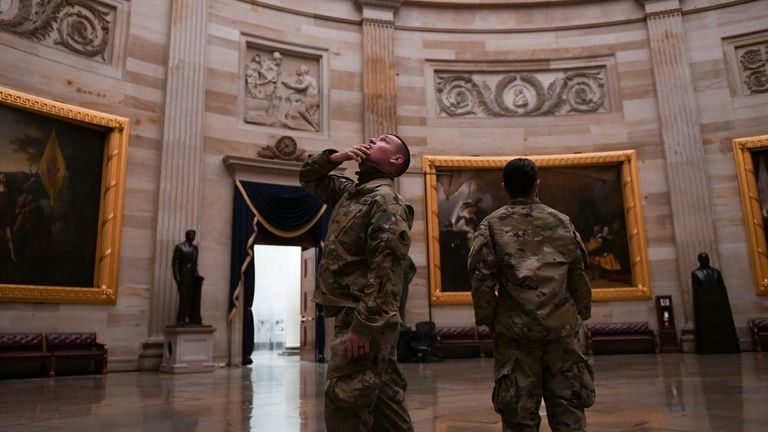 Members of the National Guard visiting the US Capitol ahead of the inauguration