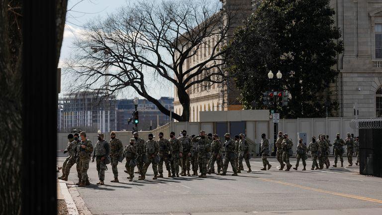 Members of the National Guard patrol near the U.S. Capitol building ahead of U.S. President-elect Joe Biden's inauguration