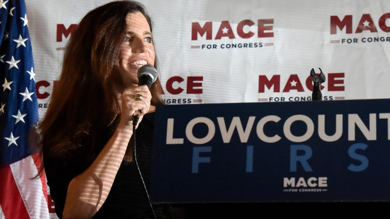 FILE - In this Sept. 21, 2020 photo U.S. House candidate Nancy Mace speaks at a campaign event in North Charleston, S.C. The candidates in South Carolina's most competitive U.S. House race debate for the first time Monday, Sept. 28, 2020. (AP Photo/Meg Kinnard, file)