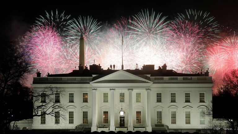 Fireworks are seen above the White House after the inauguration of Joe Biden as the 46th President of the United States in Washingto