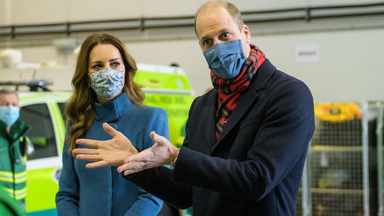 The Duke and Duchess of Cambridge during a visit to the Scottish Ambulance Service response centre in Newbridge, Edinburgh, on the second day of a three-day tour across the country.