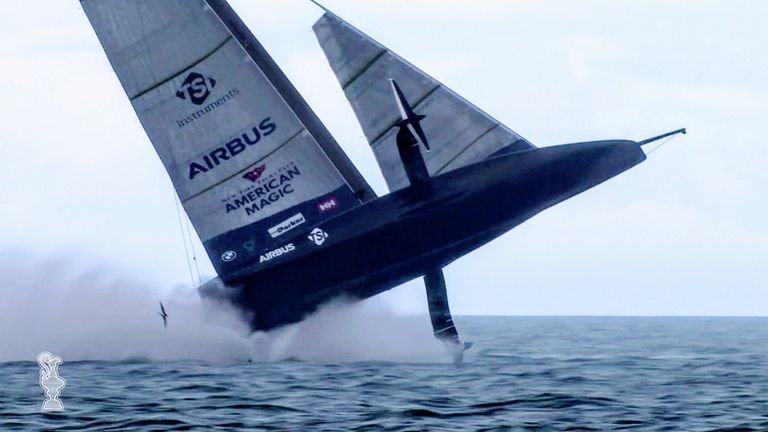 The US team capsized their yacht while leading the America's Cup in Auckland, New Zealand