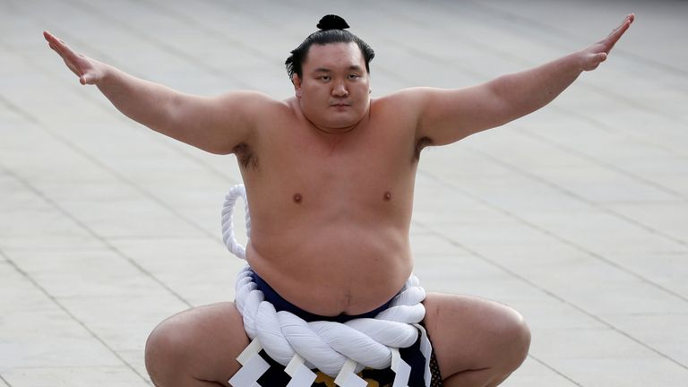 Grand sumo champion Yokozuna Hakuho, seen in 2017, has tested positive for coronavirus