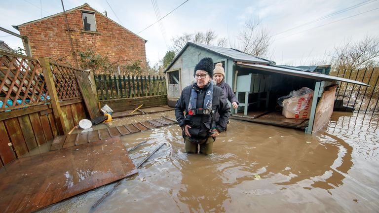 Flooding also hit homes near Naburn Lock in York