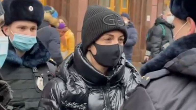 Yulia Navalnaya is detained during a protest in Moscow